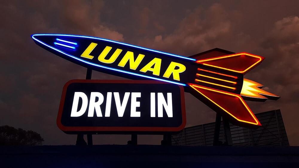 lunar drive in signage